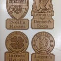 Football Personalised Door Plaque Liverpool Chelsea Manchester Bedroom Sign Gift