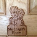 Frozen Style Personalised Door Plaque Name Kids Bedroom Anna Elsa Wood Sign